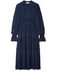 Tory Burch Stella Ruffled Pleated Chiffon Midi Dress Navy