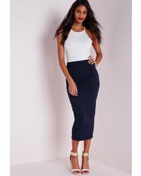Missguided Longline Jersey Midi Skirt Navy