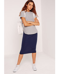 Missguided Ribbed Midi Skirt Navy