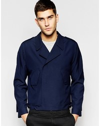 Asos Brand Smart Jacket In Navy With Military Detailing
