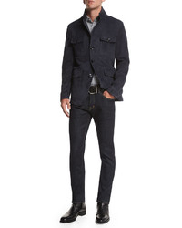 Tom Ford Suede Four Pocket Military Jacket Navy