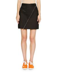 Asymmetric zip a line mini skirt dark navy medium 911711