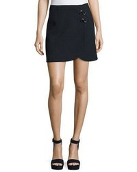 Mica crepe faux wrap mini skirt w hardware medium 4983671