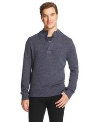 Merona Button Mock Neck Sweater Oxford Blue Tm