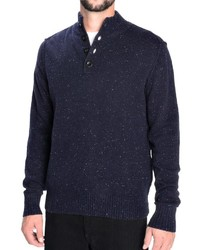 Toscano Flecked Mock Neck Sweater Lambswool Blend