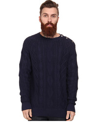 Jachs Cable Knit Mockneck Shoulder Placket