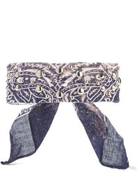 Dannijo Zuma Printed Cotton Voile And Silver Plated Choker Blue
