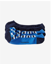 Express 2 Pack Blue Check No Show Socks