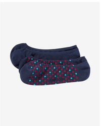 Express 2 Pack Dot Print And Solid No Show Socks