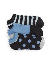 kate spade new york 3 Pack Stripe Dot No Show Socks