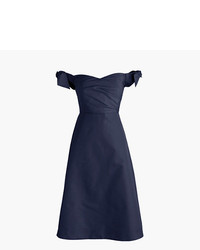J.Crew Petite Off The Shoulder Strapless Dress With Ties In Faille
