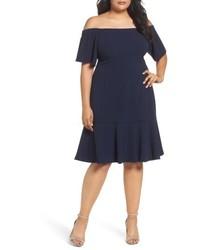 Vince Camuto Plus Size Crepe Off The Shoulder Dress