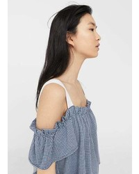 Mango Gingham Off Shoulder Top