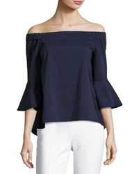 Neiman Marcus Off The Shoulder High Low Blouse Navy