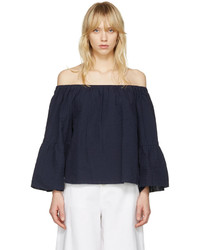 See by Chloe See By Chlo Navy Off The Shoulder Blouse