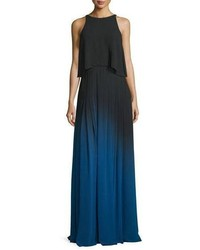Halston Heritage Sleeveless Cutout Ombre Popover Gown Blackultramarine