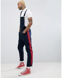 ASOS DESIGN Slim Dungarees In Navy With Red S