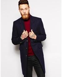 Asos Brand Wool Overcoat In Navy