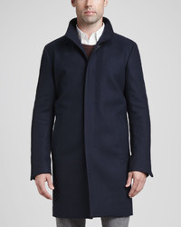 Theory Belvin Woolcashmere Blend Coat Navy