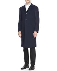Lenox Cashmere Three Button Top Coat Navy