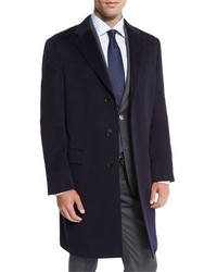 Neiman Marcus Classic Cashmere Single Breasted Topcoat Navy