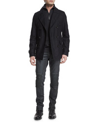 Belstaff Corringham Double Breasted Wool Coat Dark Ink