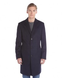 Hugo Boss Dark Blue Wool Cashmere The Stratus5 Overcoat