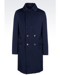 Armani Collezioni Double Breasted Coat In Wool And Cotton