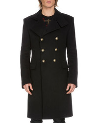 Balmain Double Breasted Long Coat Navy