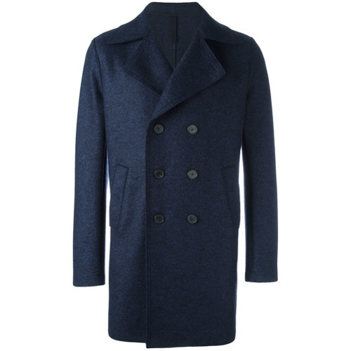 Harris Wharf London Double Breasted Mid Coat Blue