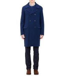 Massimo Alba Double Breasted Overcoat Blue