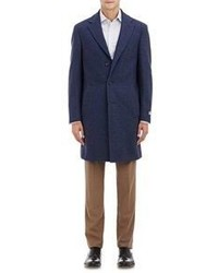 Canali Flannel Kei Overcoat Blue