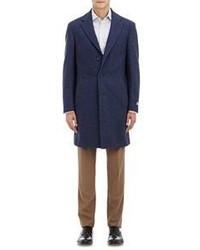 Canali Flannel Kei Overcoat Blue