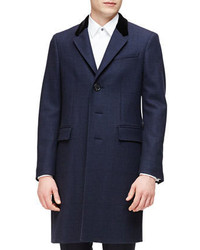 Burberry London Single Breasted Plaid Overcoat Navy