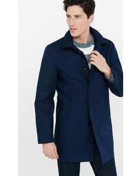Navy Hooded Cotton Trench Coat
