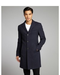 Etro Navy Microcheck Wool Trench