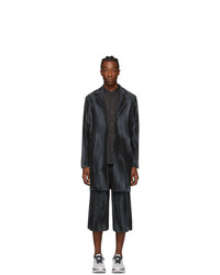 Homme Plissé Issey Miyake Navy Pleats Tailored Coat