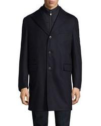 Corneliani Navy Storm System Wool Blend Topcoat