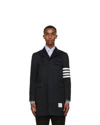 Thom Browne Navy Twill 4 Bar Coat