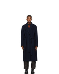 Loewe Navy Wool And Cashmere Coat