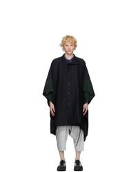 132 5. ISSEY MIYAKE Navy Wool Coat