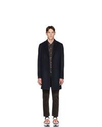 Ps By Paul Smith Navy Wool Epsom Coat
