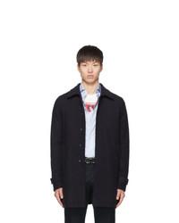 Herno Navy Wool Laser Cut Overcoat
