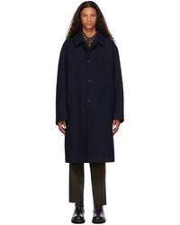 Dries Van Noten Navy Wool Oversized Coat