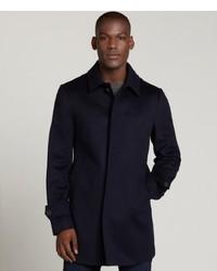 Canali Navy Wool Three Quarter Overcoat