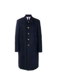 Thom Browne Relaxed Bal Collar Overcoat Shell In Navy Double Face Melton