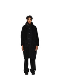 Issey Miyake Men Reversible Navy And Beige Beaver Coat