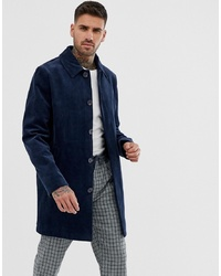 ASOS DESIGN Single Breasted Trench Coat In Cord In Navy
