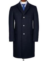 Charles Tyrwhitt Slim Fit Navy Wool And Cashmere Overcoat