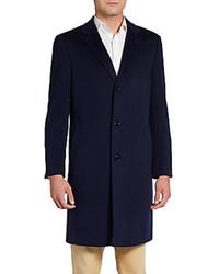 Saks Fifth Avenue BLACK Slim Fit Wool Overcoat